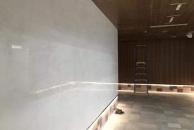 stoke house restaurant with white marble venetian plaster walls
