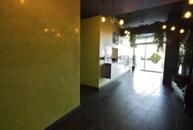 yellow vancouver venetian plaster wall, high polish with hydrowax