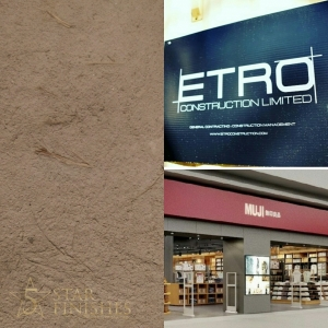 Muji feature wall shikhui plaster from japan. Vasari stucco, mixed with straw and special sand additives. Etro construction