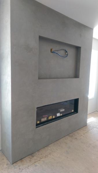 Polished Concrete Plaster Fireplace Venetian Plaster