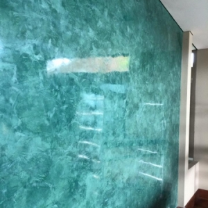 three color venetian plaster with a hydrowax polish