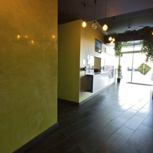 yellow vancouver venetian plaster wall, high polish with hydrowax